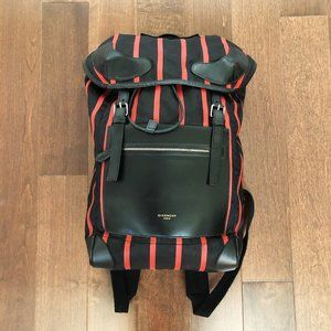 Givenchy Men's Rider Backpack in Black Red Stipes